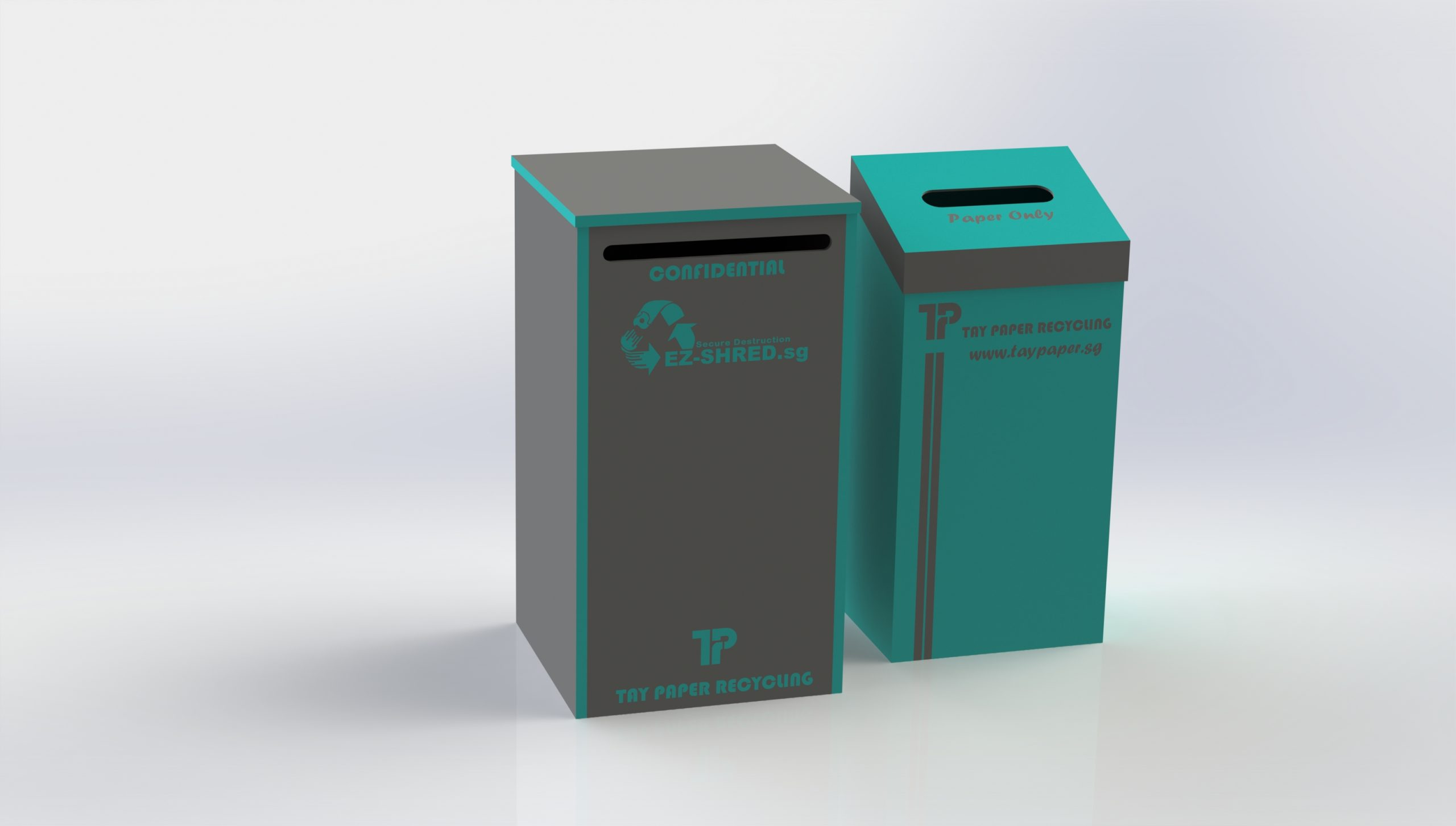tay paper recycling's grey lockable console on the left and teal coloured paper recycle bin on the right
